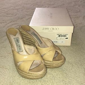 Jimmy choo wedge sandal slides size 37 nude